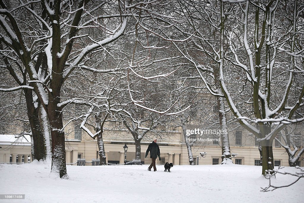 A man walks his dog in a snowy St James's Park on January 21, 2013 in London, England. The United Kingdom has suffered a weekend of heavy snowfall with many transport routes affected.