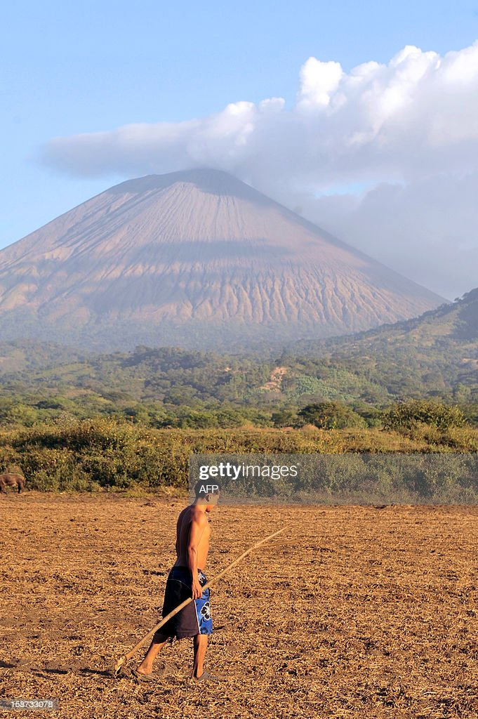 A man walks in a field in Grecia 4, Chinandega, 150 km from Managua, with the San Cristobal volcano in the background on December 26, 2012. The San Cristobal volcano began spewing smoke and ashes Tuesday afternoon. AFP PHOTO / Hector RETAMAL