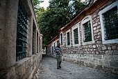 A man walks in a street near Eyup sultan mosque on July 26 2016 at Eyup district in Istanbul following the failed military coup attempt of July 15...