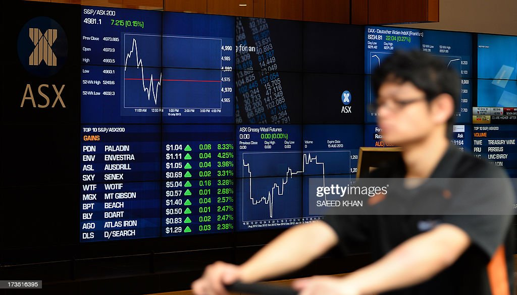 A man walks in front of an electronic screen at the Australian Stock Exchange (ASX) in Sydney on July 16, 2013. Australian Prime Minister Kevin Rudd on July 16 announced the country's divisive fixed-price carbon tax will be scrapped a year ahead of schedule in favour of a market-driven emissions trading scheme. AFP PHOTO / Saeed KHAN