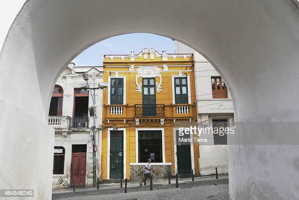 A man walks in Lapa in Rio's historic center on January 23 2015 in Rio de Janeiro Brazil Rio marks its 450th anniversary on March 1 and is...