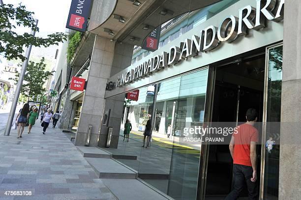 VENIN A man walks into a branch of the Banco Privada d'Andorra in Andorra la Vella on May 12 2015 The US Treasury's Financial Crimes Enforcement...