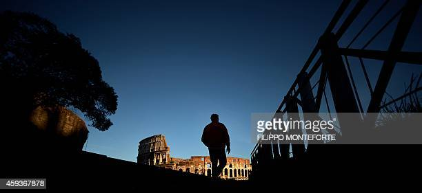 A man walks near the Colosseum at sunset on November 21 2014 in Rome AFP PHOTO / FILIPPO MONTEFORTE