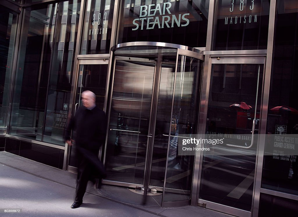 A man walks out of Bear Stearns headquarters March 24, 2008 in New York City. A new agreement will give Bear Stearns shareholders ten dollars per sare, five times the payout outlined in a JPMorgan Chase & Co. buyout deal last week.