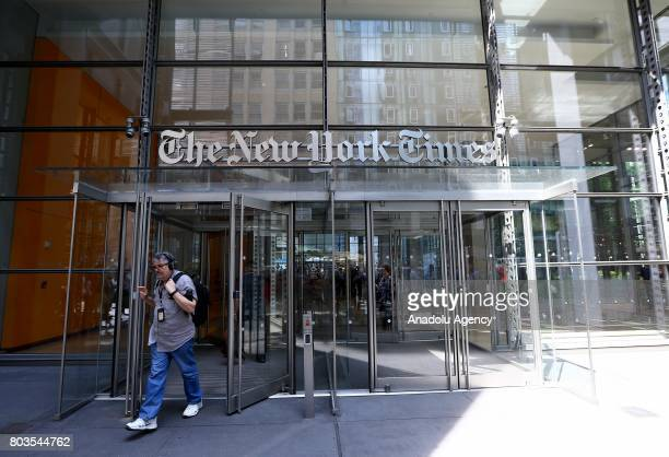 A man walks out of the New York Times building in New York United States on June 29 2017 NYT employees start a temporary strike against downsizing...