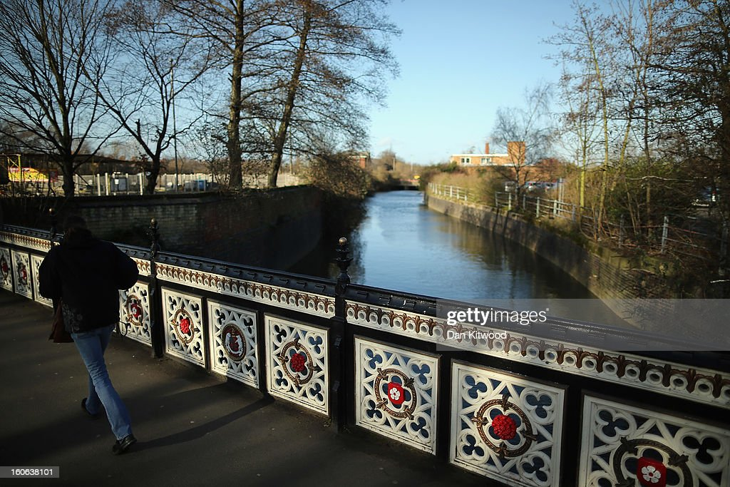 A man walks over a bridge where it is believed that King Richard III marched his men over to the Battle of Bosworth, near Leicester Catherdral, on February 4, 2013 in Leicester, England. The University of Leicester has been carrying out scientific investigations on remains found in a car park to find out whether they are those of King Richard III since last September, when the skeleton was discovered in the foundations of Greyfriars Church, Leicester. King's Richard III's remains are to be re-interred at Leicester Catherdral.