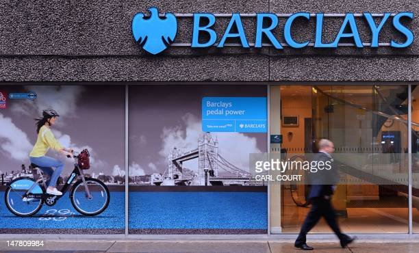A man walks past a branch of Barclays bank in central London on July 3 2012 Barclays on Tuesday said that its chief operating officer Jerry del...