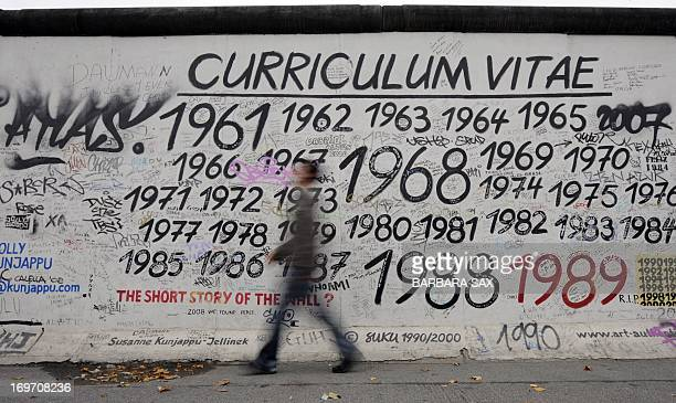 A man walks past a portion of the Berlin Wall on October 16 2008 at the East Side Gallery in Berlin The East Side Gallery a more than one kilometre...