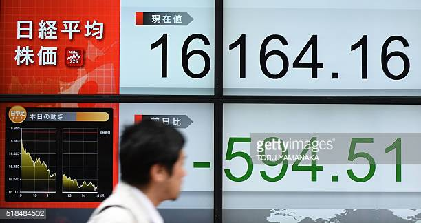 A man walks past a quotation board flashing the Nikkei key index of the Tokyo Stock Exchange in front of a securities company in Tokyo on April 1...