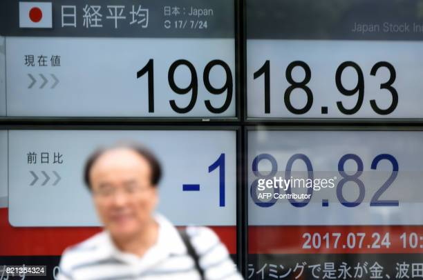 A man walks past a stock quotation board flashing the Nikkei 225 key index of the Tokyo Stock Exchange in front of a securities company in Tokyo on...