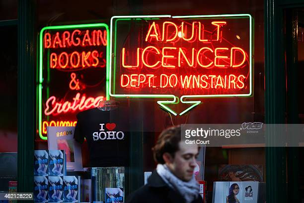 A man walks past an adult book store in Soho on January 16 2015 in London England A growing number of campaigners including Stephen Fry are pushing...