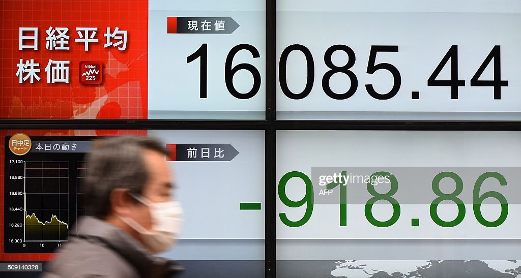 A man walks past an electric quotation board flashing the Nikkei key index of the Tokyo Stock Exchange (TSE) in front of a securities company in Tokyo on February 9, 2016. Tokyo shares plunged more than five percent on February 9, extending a global equities bloodbath as a sharp rise in the yen hammered exporters and fears over the state of the global economy fuelled a rush to safe investments. AFP PHOTO / Toru YAMANAKA / AFP / TORU YAMANAKA