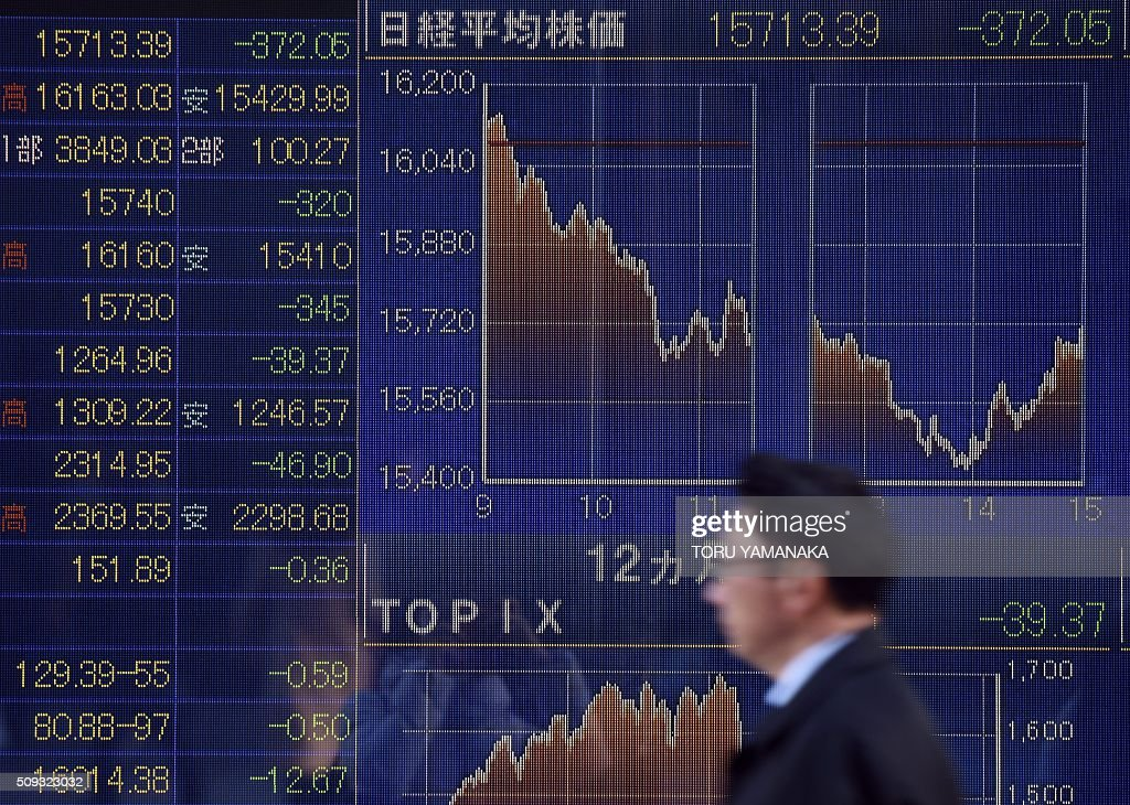 A man walks past an electric quotation board flashing the Nikkei key stock index of the Tokyo Stock Exchange (TSE) in front of a securities company in Tokyo on February 10, 2016. Tokyo stocks again dropped on February 10 to their lowest level since late 2014, as fears of a global recession hammered investor confidence ahead of testimony by the head of the US central bank. AFP PHOTO / Toru YAMANAKA / AFP / TORU YAMANAKA