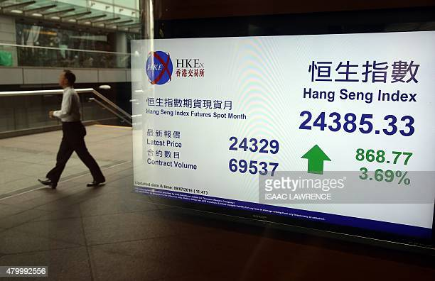 A man walks past an electronic board displaying the Hang Seng Index at the Hong Kong Stock Exchange on July 9 2015 Hong Kong shares ended the morning...