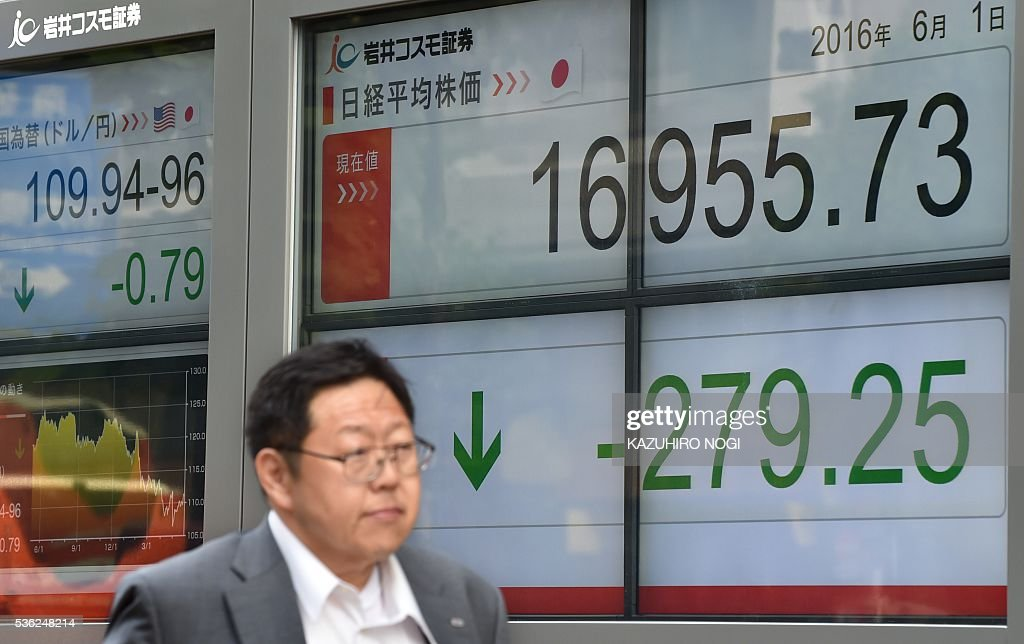 A man walks past an electronic stock quotation board displayed at the window of a securities company in Tokyo on June 1, 2016. Tokyo stocks dropped June 1, snapping a five-day winning streak, as the yen surged on news that Japan's prime minister would delay a sales tax rise that threatened the nation's fragile economy. / AFP / KAZUHIRO
