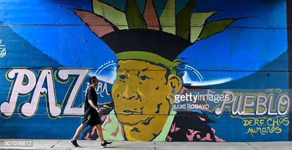 'Peace for the people human rights' in the Chipichape neighbourhood in Cali Colombia on January 9 2016 Considered vandalism in the past graffiti is...
