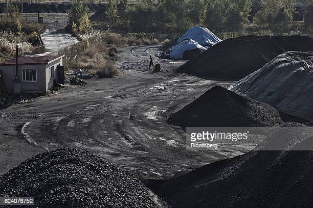 A man walks past piles of coal at the Qinhuangdao Port in Qinhuangdao China on Friday Oct 28 2016 China's efforts to quell surging coal prices showed...