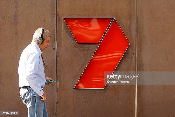 A man walks past the Channel 7 logo at the Seven Group Holdings Limited Pyrmont offices on April 13 2016 in Sydney Australia The NSW Supreme Court on...