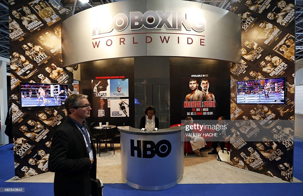 A man walks past the HBO Boxing Worldwide booth at The World Sports Content Media Convention (Sportel) on October 12, 2015 in Monaco. Sportel, an international business platform, is part of the Monegasque Association, Monaco Mediax, which is under the Honorary Presidency of Prince Albert II of Monaco.