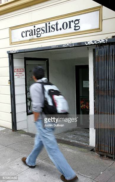 A man walks past the office of online site Craigslist March 10 2006 in San Francisco California Craigslistorg is being sued in a federal lawsuit for...