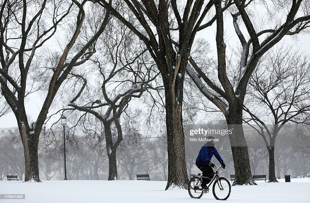 A man walks rides his bicycle along the National Mall as snow continues to fall March 3, 2014 in Washington, DC. The Washington area has been hit by repeated snow storms throughout the winter.