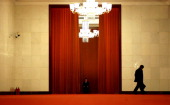 A man walks the corridor during the China's National People's Congress at the Great Hall of the People on March 6 2014 in Beijing China Over 2000...