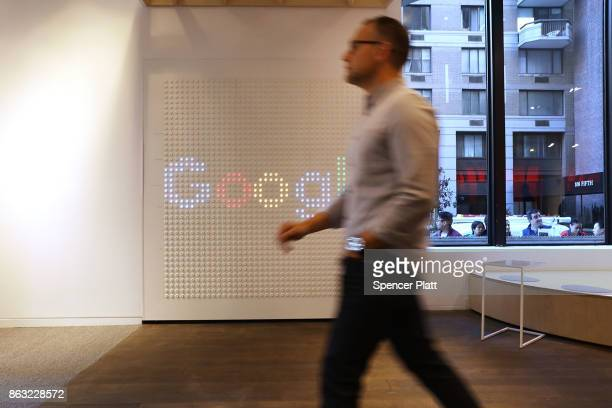 A man walks through Google's New York City popup shop on October 19 2017 in New York City The temporary store in the Flatiron neighborhood of...
