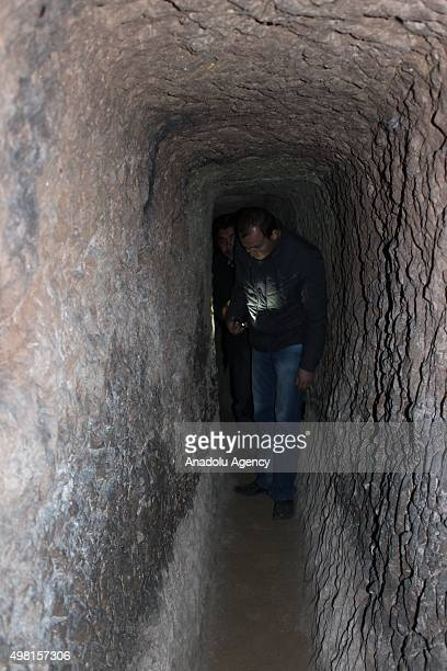 A man walks through in a tunnel at the underground city newly discovered during a construction works in Central Anatolian province of Nevsehir Turkey...