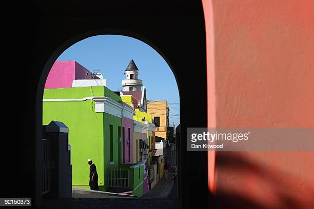 A man walks through the BoKaap area of Cape Town on October 20 2009 in Cape Town South Africa The BoKaap area is a predominantly Muslim area of Cape...