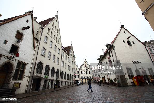 A man walks through the city city centre on March 3 2015 in Tallinn Estonia