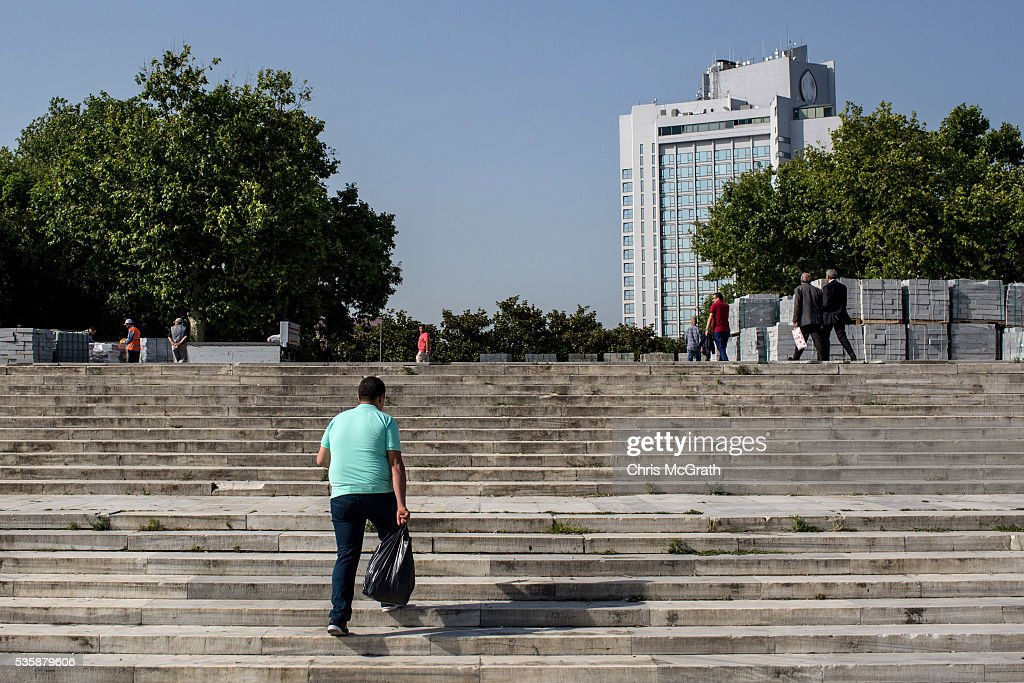 A man walks up the Gezi Park stairs on the eve of the 3rd anniversary of the Gezi Park protests on May 30, 2016 in Istanbul, Turkey. The protests began on May 28, 2013 to contest the planned urban development of Gezi Park however larger protests started after police evicted protesters from the park sparking weeks of civil unrest.