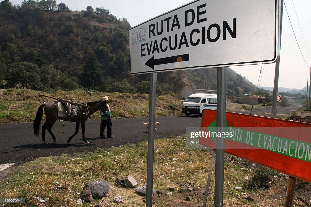 A man walks with a horse and a dog next to signs reading 'Evacuation route' in Santiago Xalitzintla community, near the Popocatepetl volcano, Puebla state, 55 km southeast of Mexico City, on May 19, 2013. The National Disaster Prevention Centre (CENAPRED) raised the alert level to 'yellow phase three'. AFP PHOTO/J. Guadalupe Perez