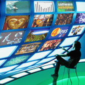 Man watching multiple television screens (Digital Composite)