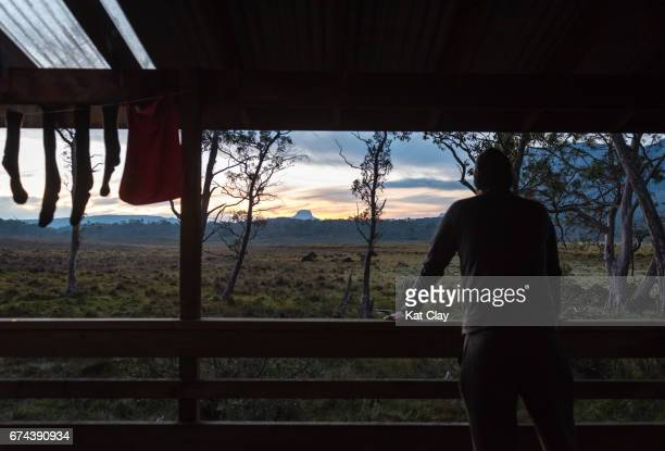 Man watching sunset on the Overland Track
