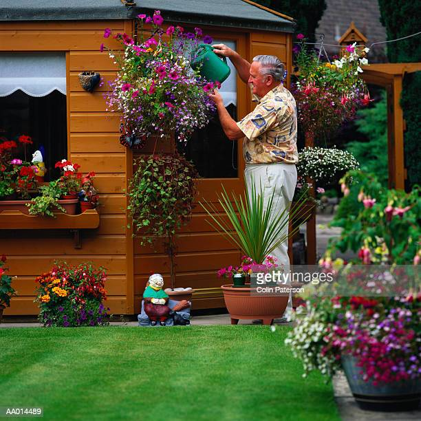 Man Watering Flowers in His Garden