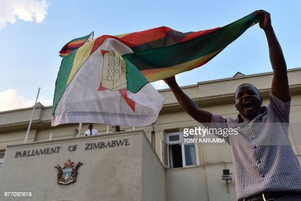 A man waves a flag as he celebrates the resignation of Zimbabwe's president Robert Mugabe in front of the parliament in Harare on November 21 2017 /...