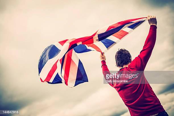 Man waving Union jack flag