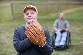 Man wearing a baseball glove