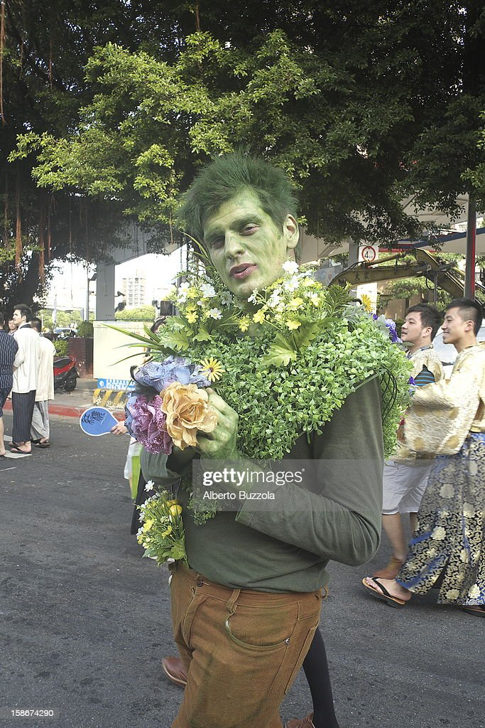 A man wearing a fancy costumes in occasion of the Gay and Lesbian Pride Parade in Taipei.