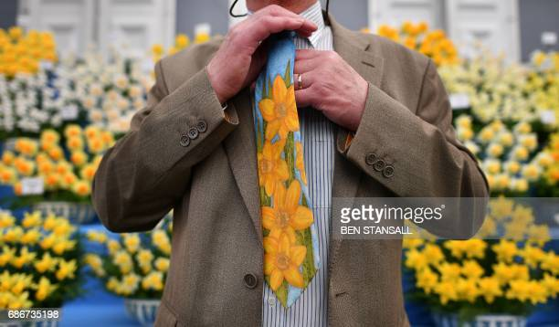 A man wearing a floral tie poses in front of daffodils at the 2017 Chelsea Flower Show in London on May 22 2017 The Chelsea flower show held annually...