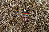 A man wearing a hay bale costume celebrates the winter festival of Malanka on January 14 2015 in Krasnoilsk Ukraine The holiday which involves...