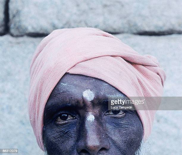 Man wearing a pink turban in India