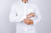man wearing a white shirt. White background.