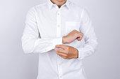 man wearing a white shirt. White background.