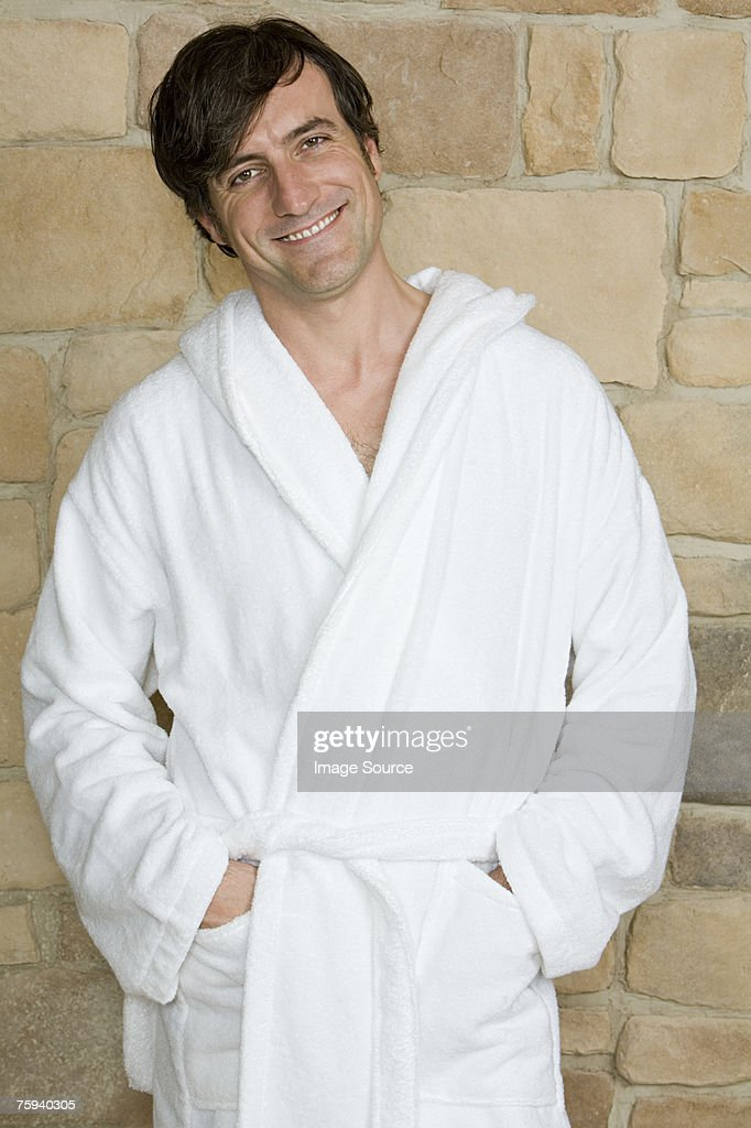 Man wearing bathrobe