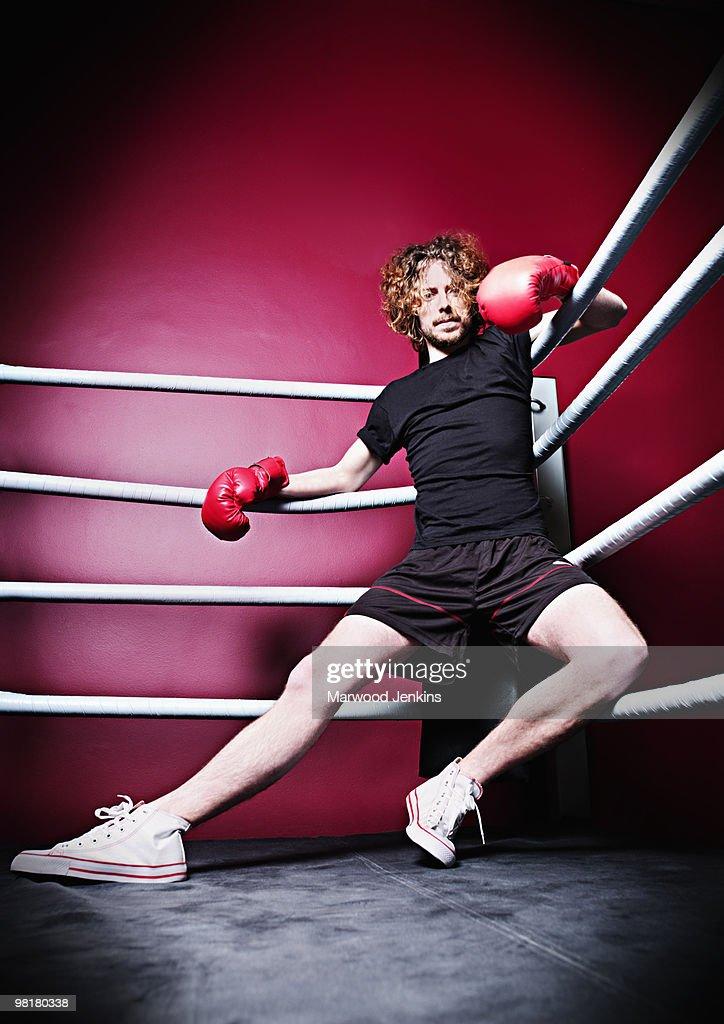 Man wearing boxer gloves in  : Stock Photo