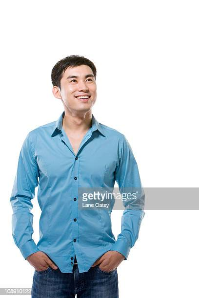 Man Wearing Button Down Shirt