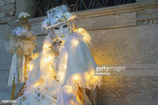 A man wearing carnival costume poses in Piazza San Marco during the 2016 Venice Carnival on February 7 2016 in Venice Italy The 2016 Carnival of...