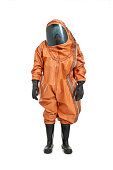 man wearing chemical protection suit isolated on white