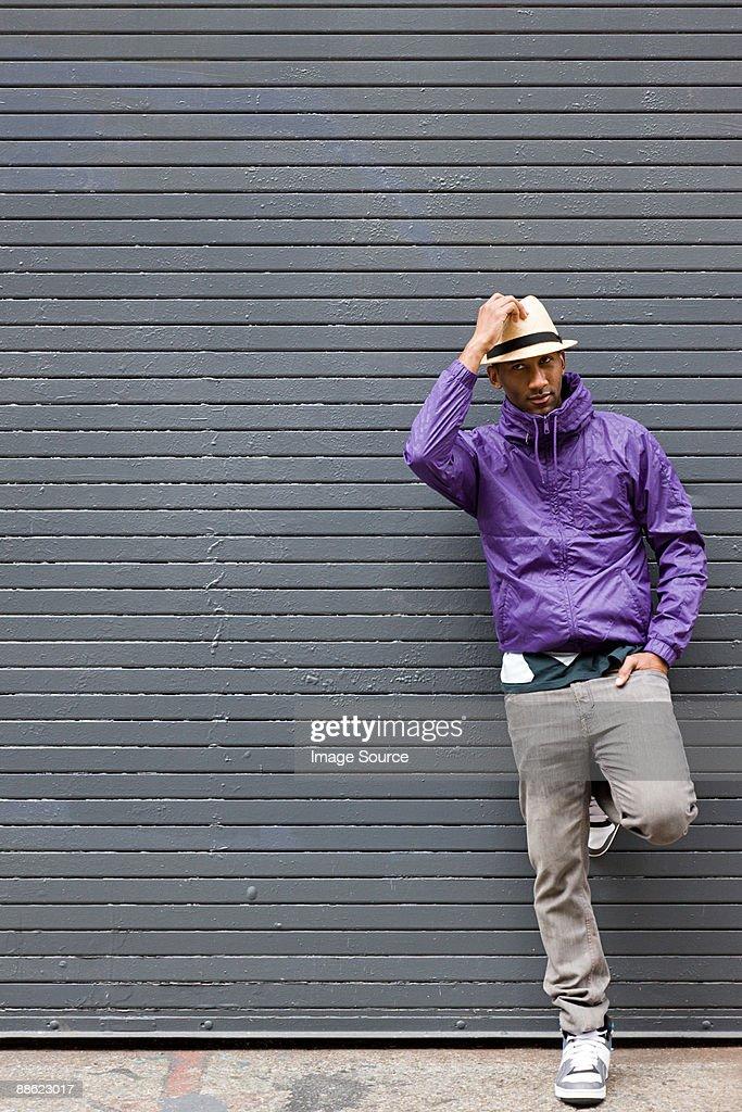 Man wearing fedora : Stock Photo